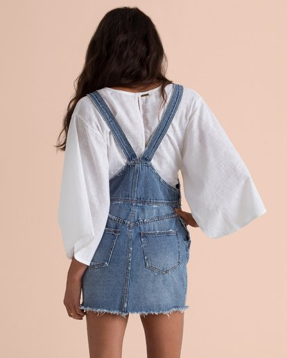 4 Sincerely Jules Fade Away Denim Skirt Overalls Blue JD67TBFA Billabong