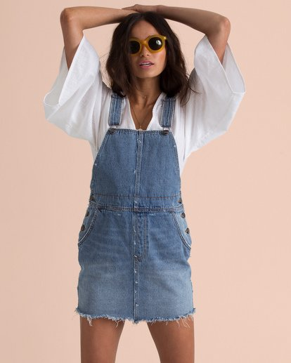 2 Sincerely Jules Fade Away Denim Skirt Overalls Blue JD67TBFA Billabong