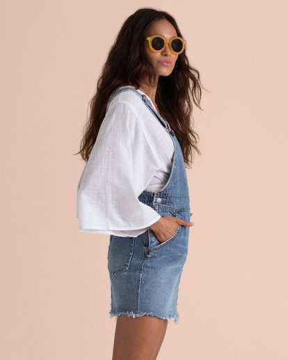 3 Sincerely Jules Fade Away Denim Skirt Overalls Blue JD67TBFA Billabong