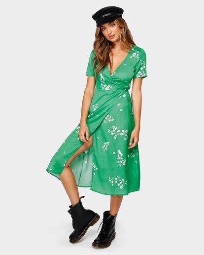 0 Jade Wrap Midi Dress Green JD80UBJA Billabong