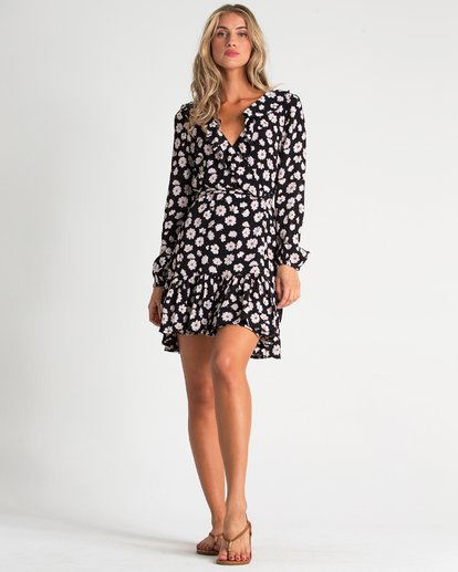 4 Margherita Wrap Mini Dress Black JD93TBMA Billabong