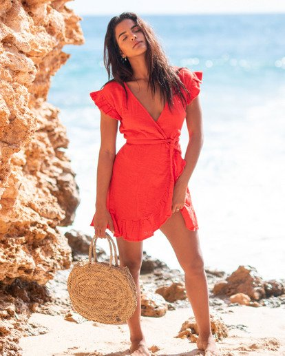 1 Wrap It Up Dress Red JD942BWR Billabong