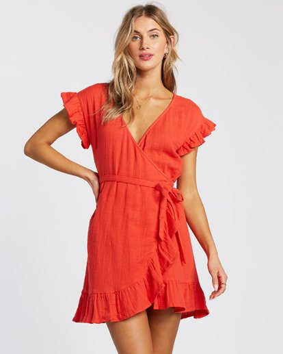 5 Wrap It Up Dress Red JD942BWR Billabong