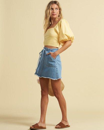 1 Salty Blonde Tied Up Denim Skirt Multicolor JK033BTI Billabong