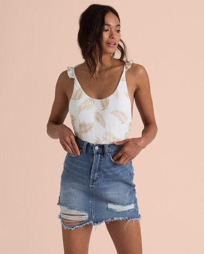 1 Sincerely Jules Take Risk Denim Skirt Blue JK06TBTA Billabong