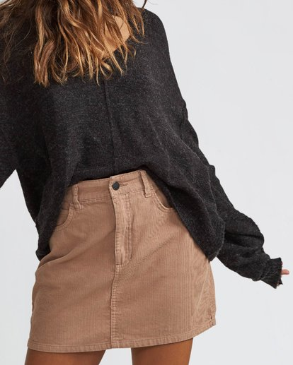 2 Dem Bones Cord Skirt Brown JK70SBDE Billabong