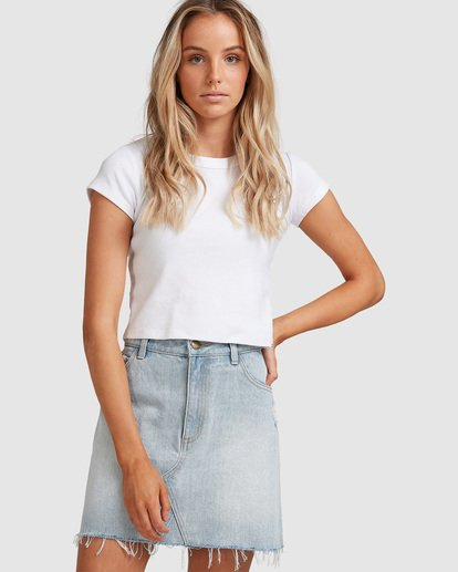 0 Charlie Denim Mini Skirt Blue JK813BCH Billabong