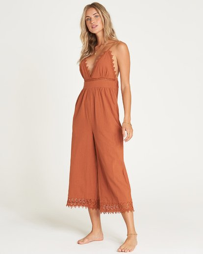 2 Lace And Lies Jumpsuit Brown JN05UBLA Billabong