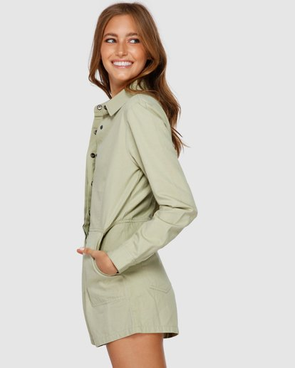 3 Gigi Twill Jumpsuit Green JN61VBGI Billabong