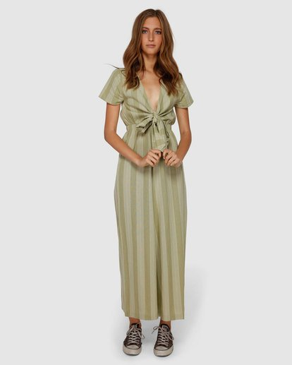 0 Ivy Stripe Jumpsuit Green JN62VBIV Billabong
