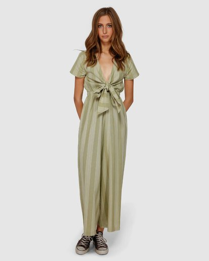 4 Ivy Stripe Jumpsuit Green JN62VBIV Billabong