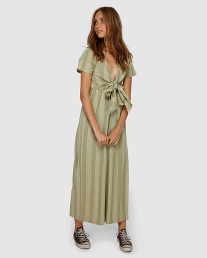 1 Ivy Stripe Jumpsuit Green JN62VBIV Billabong