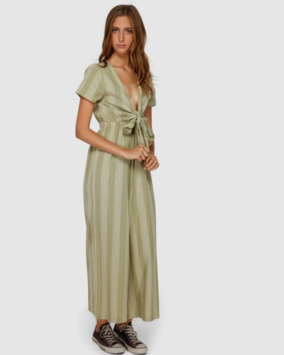 2 Ivy Stripe Jumpsuit Green JN62VBIV Billabong