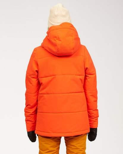 3 Women's Down Rider Snow Jacket Orange JSNJ3BDR Billabong