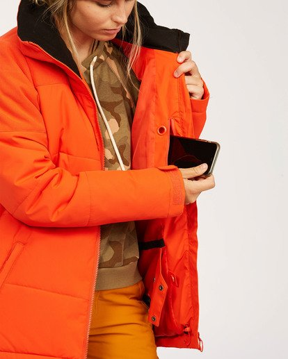 5 Women's Down Rider Snow Jacket Orange JSNJ3BDR Billabong