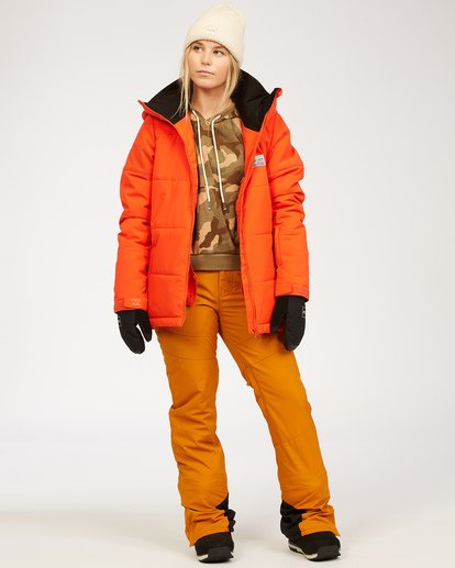 4 Women's Down Rider Snow Jacket Orange JSNJ3BDR Billabong