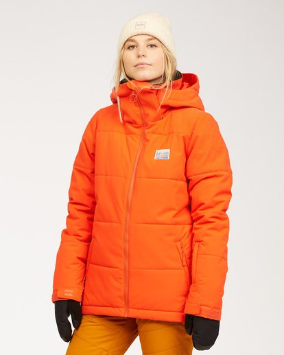 2 Women's Down Rider Snow Jacket Orange JSNJ3BDR Billabong