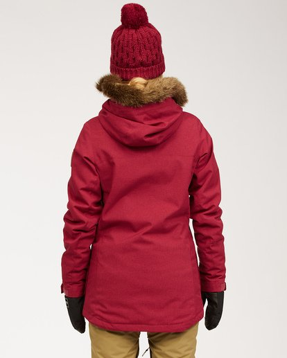 3 Women's Into The Forest Snow Jacket Red JSNJ3BIN Billabong