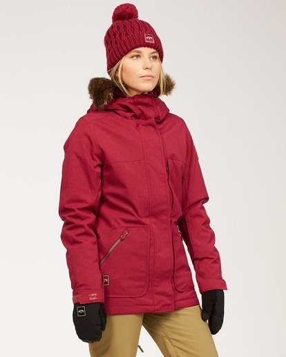 2 Women's Into The Forest Snow Jacket Red JSNJ3BIN Billabong