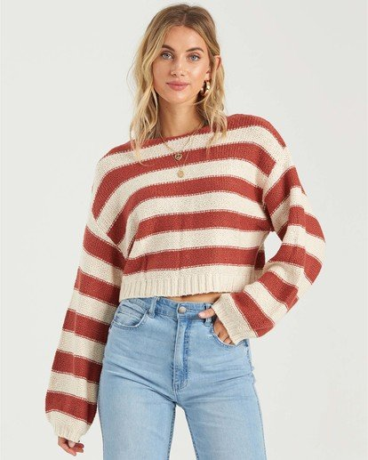 0 Seeing Stripes Sweater Red JV033BSE Billabong