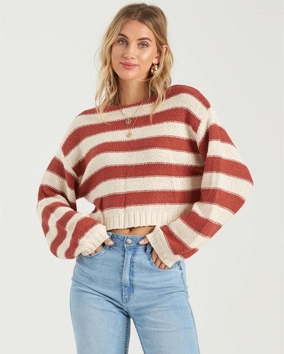 2 Seeing Stripes Sweater Red JV033BSE Billabong