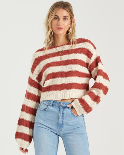 3 Seeing Stripes Sweater Red JV033BSE Billabong