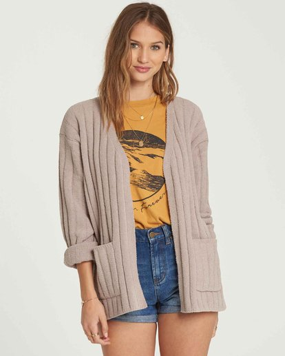 3 Just Relax Chenille Cardigan Brown JV05QBJU Billabong