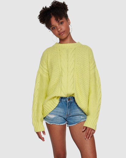 5 Color Pop Cable Sweater Yellow JV30VBCO Billabong