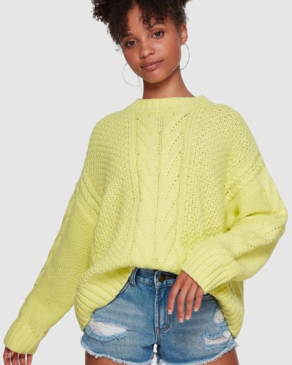 2 Color Pop Cable Sweater Yellow JV30VBCO Billabong