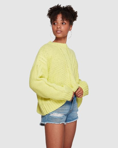 3 Color Pop Cable Sweater Yellow JV30VBCO Billabong