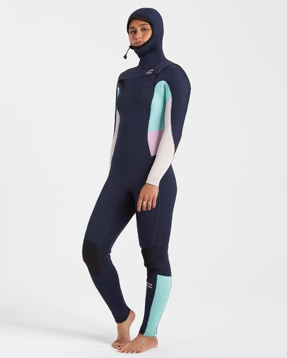 1 5/4 Synergy Chest Zip Hooded Wetsuit Blue JWFU3BH5 Billabong