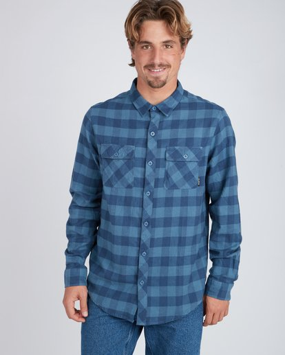 1 All Day Flannel Long Sleeve Shirt Blue L1SH01BIF8 Billabong