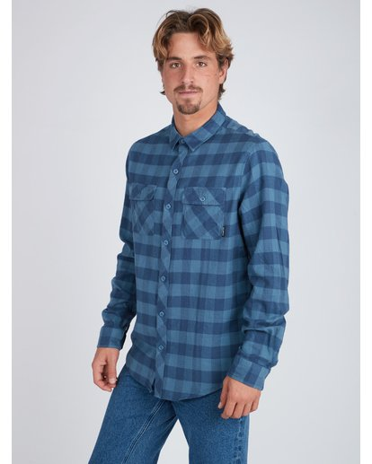 2 All Day Flannel Long Sleeve Shirt Blue L1SH01BIF8 Billabong