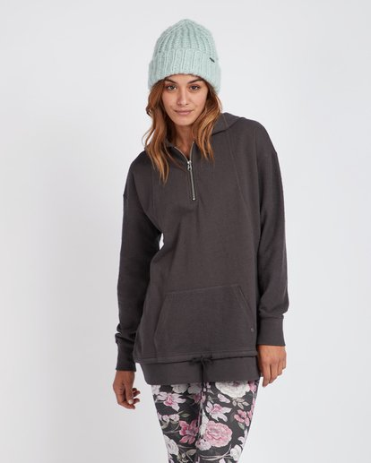 0 News Week Long V-Neck Zip Hoodie Noir L3FL04BIF8 Billabong