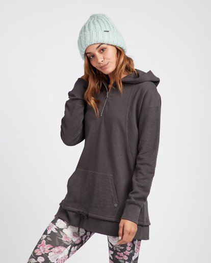 2 News Week Long V-Neck Zip Hoodie Noir L3FL04BIF8 Billabong