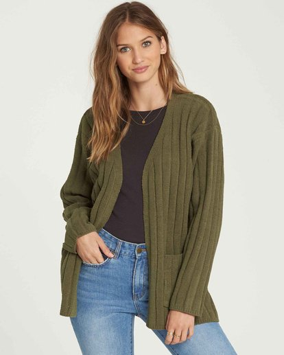 0 Just Relax Cozy Oversized Chenille Cardigan Vert L3JP09BIF8 Billabong