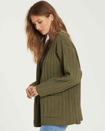 2 Just Relax Cozy Oversized Chenille Cardigan Vert L3JP09BIF8 Billabong