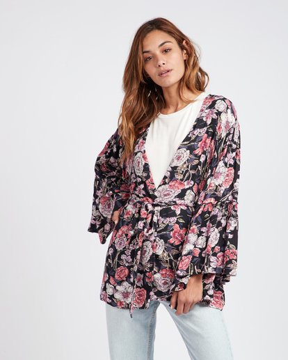 2 All Flored Kimono Top Noir L3TP07BIF8 Billabong