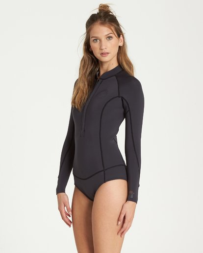 4 2/2 Salty Dayz Long Sleeves Chest Zip Springsuit Wetsuit Noir L42G02BIF8 Billabong