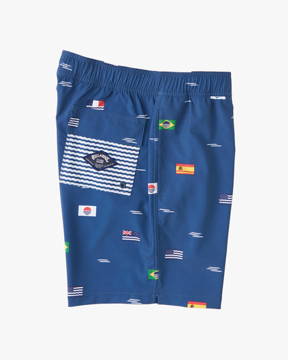 """2 Surfrider USOA Flag Layback Boardshorts 17"""" Brown M1263BLB Billabong"""
