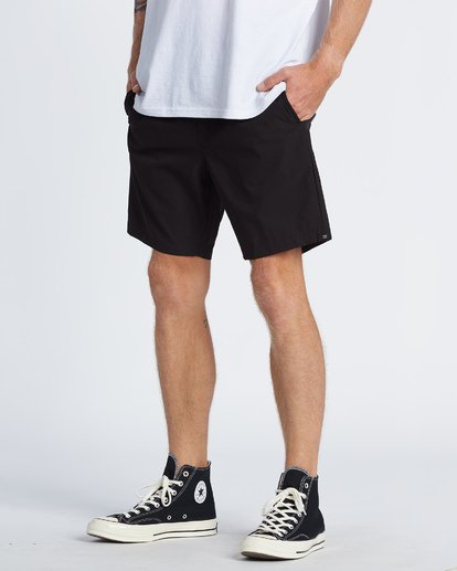 "1 Surftrek Perf Elastic Walkshort 18"" Black M2461BSP Billabong"