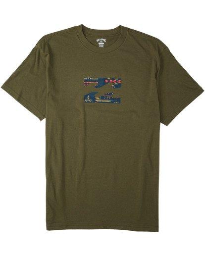 3 Team Wave T-Shirt Green M4043BTW Billabong