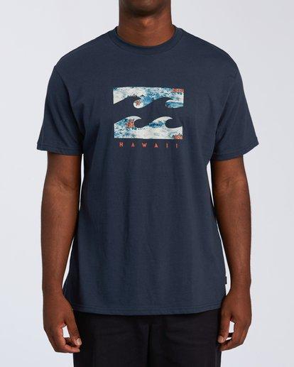 0 Island Wave Hawaii Short Sleeve T-Shirt Blue M404KIHI Billabong