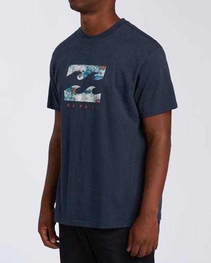1 Island Wave Hawaii Short Sleeve T-Shirt Blue M404KIHI Billabong