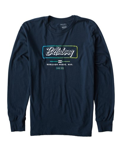 0 Script Long Seeve T-Shirt Blue M405USCE Billabong