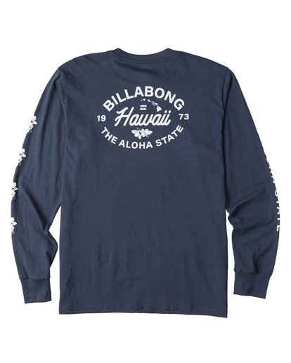 3 Aloha Hawaii Long Sleeve T-Shirt Blue M405VBAL Billabong
