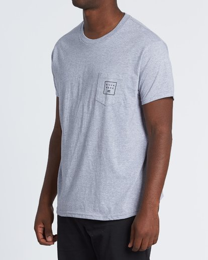 1 Stacked Essential Pocket Short Sleeve T-Shirt Grey M431WBSE Billabong