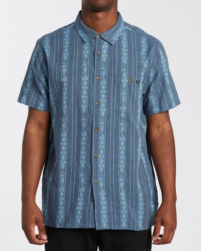 0 Sundays Jacquard Short Sleeve Shirt Blue M5023BSJ Billabong
