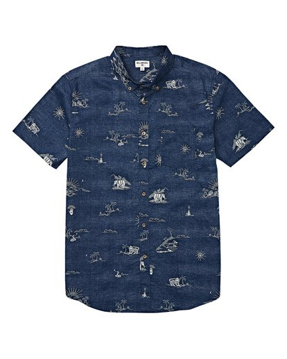 3 Sundays Mini Short Sleeve Shirt Blue M503VBSM Billabong