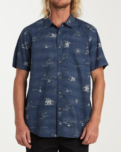 0 Sundays Mini Short Sleeve Shirt Blue M503VBSM Billabong